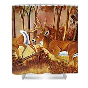 Flagging Deer Shower Curtain
