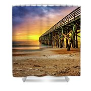 Flagler Beach Pier At Sunrise In Hdr Shower Curtain