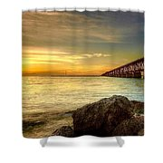 Flagler Bridge At Sunset Shower Curtain