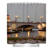 Flagler Bridge In Lights Iv Shower Curtain