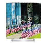 Flags Along The Walkway Shower Curtain