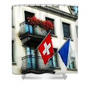 Flags Of Switzerland And Zurich Shower Curtain