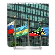Flags Of Various Nations Outside The United Nations Building. Shower Curtain