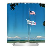 Flags On The Shoreline Shower Curtain