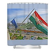 Flags Over Budapest Shower Curtain