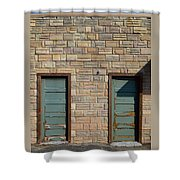 Flagstone Wall And Two Green Doors Shower Curtain