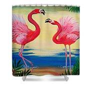 Flamingo Courtship Dance Shower Curtain
