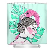 Flamingo Girl Shower Curtain