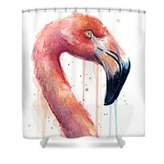 Flamingo Painting Watercolor - Facing Right Shower Curtain