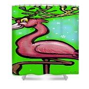 Flamingo Reindeer Shower Curtain