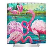 Flamingo Vacation Shower Curtain