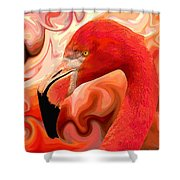 Flamingoed An Abstract In Pink Shower Curtain by Shelli Fitzpatrick