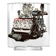 Flat Head V 8 Engine Shower Curtain