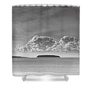 Flat Holm And Steep Holm Mono Shower Curtain