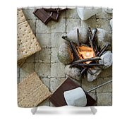Flat Lay Camp Fire S'mores Deconstructed Shower Curtain