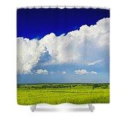 Flat Open Grassland And Sky Shower Curtain