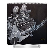 Flathead Offenhauser V8 Shower Curtain