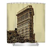 Flatiron Building In Sepia Shower Curtain