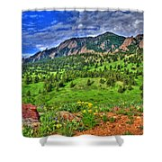 Flatirons And Clouds Shower Curtain
