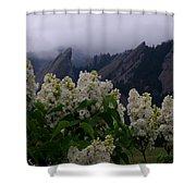 Flatirons White Lilacs Shower Curtain