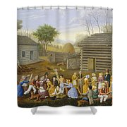 Flax Scutching Bee Shower Curtain
