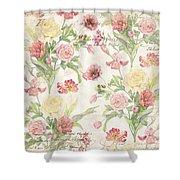 Fleurs De Pivoine - Watercolor In A French Vintage Wallpaper Style Shower Curtain