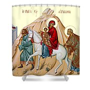Flight Into Egypt Painting At Shepherds Field Shower Curtain