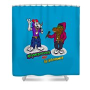 Flight Of The Conchords The Hiphopopotamus And The Rhymenoceros Together On The One Design Shower Curtain