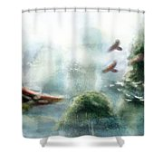 Flight Through The Mountains Shower Curtain