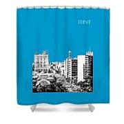 Flint Michigan Skyline - Aqua Shower Curtain