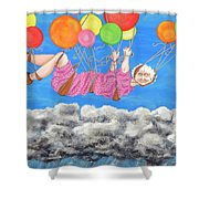 Floating Above Storm Clouds Shower Curtain