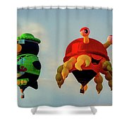 Floating Aerial Photographer And The Smiling Crab Shower Curtain