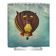 Floating Cat - Hot Air Balloon Shower Curtain
