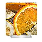 Floating Citrus Shower Curtain