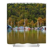 Floating Homes Along Multnomah Channel In Portland Oregon Shower Curtain