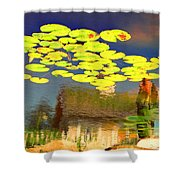 Floating Lily Pond Shower Curtain