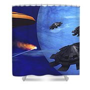 Floating Space City Shower Curtain by Corey Ford