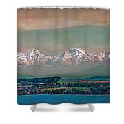 Floating Swiss Alps Shower Curtain