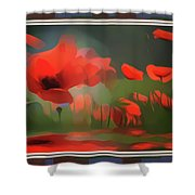 Floating Wild Red Poppies Shower Curtain