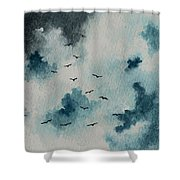 Flock Of Birds Against A Dark Sky  Shower Curtain