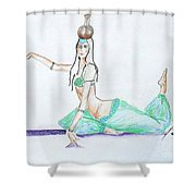 Floor Work -- Belly Dancer Portrait Shower Curtain