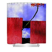 Flora And The Red Fence Shower Curtain
