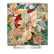 A Peachy Poinsettia Shower Curtain