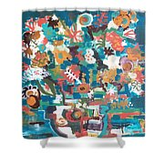 Floral Abstract Still Life Shower Curtain