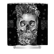 Floral Beard Skull 3 Shower Curtain