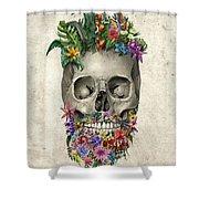 Floral Beard Skull Shower Curtain