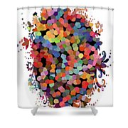 Floral Bouquet Abstract With Dots Shower Curtain