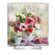 Floral Bouquet Table Setting In Tiny Bubbles Shower Curtain