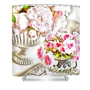 Floral Bouquets Pink Roses  Shower Curtain