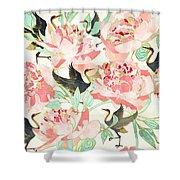 Floral Cranes Shower Curtain